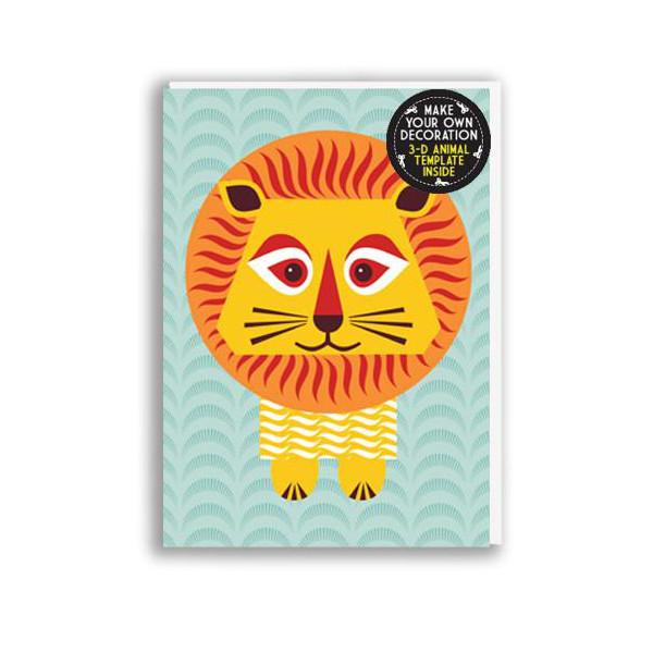 Lion kids birthday card with origami animal toy