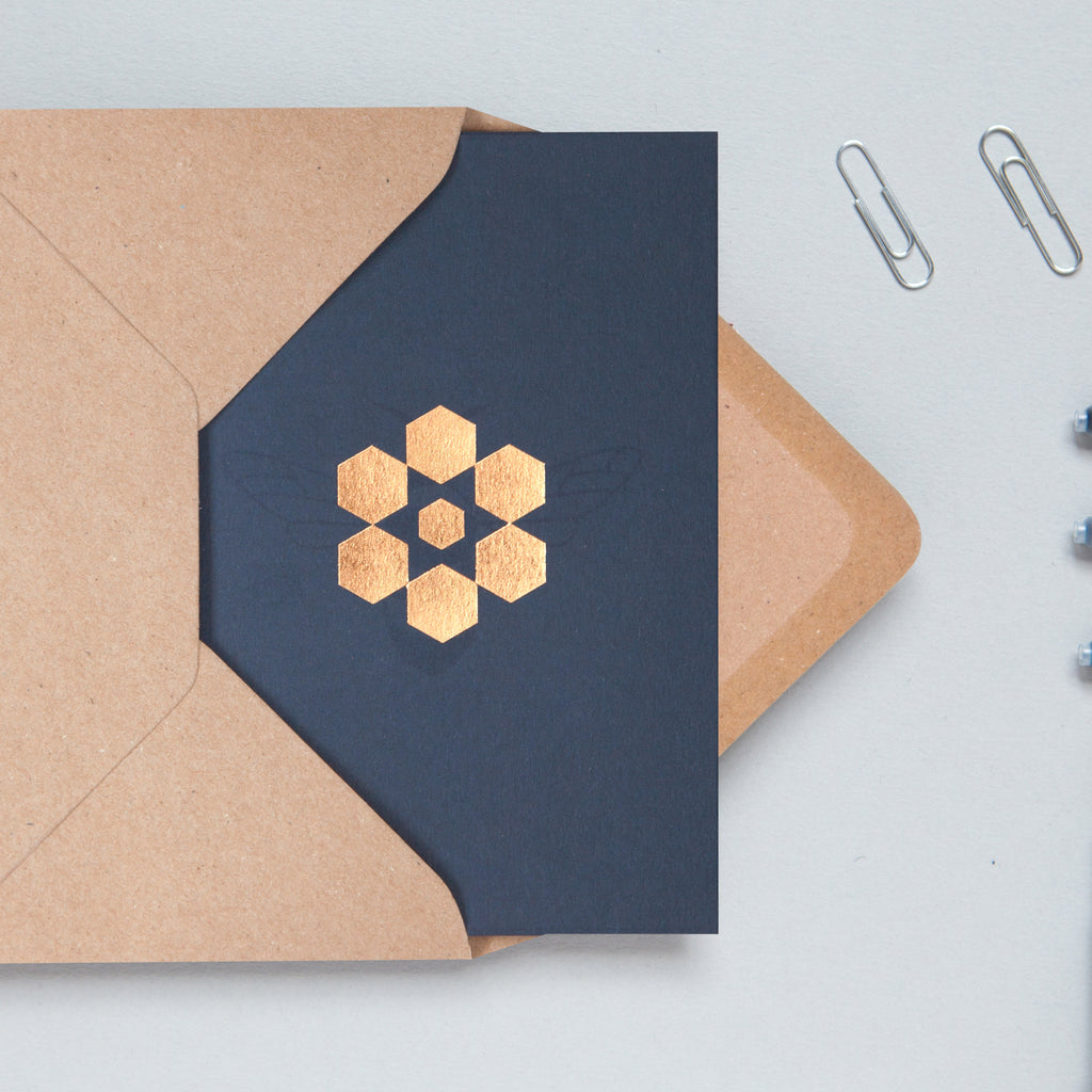 Foil Blocked Card, Snowflake Print in Navy/Rose Gold