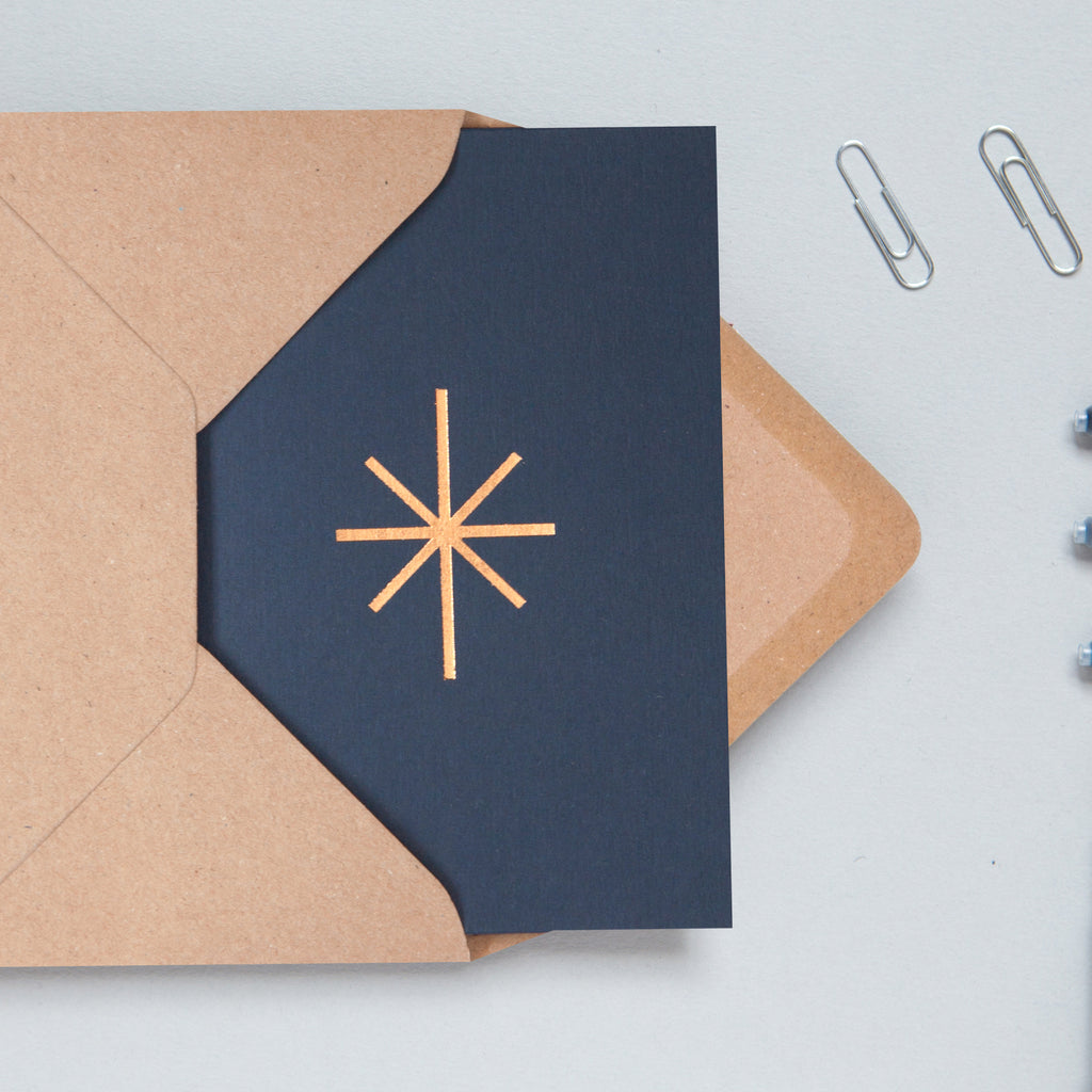 Star Print in Navy/Rose Gold minimalist simple Christmas card