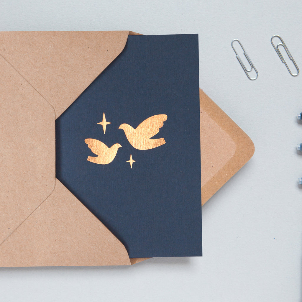 minimalist simple dove Christmas card