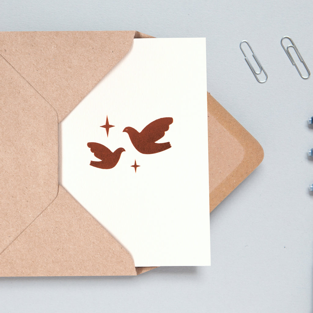 two doves card Christmas card minimalist