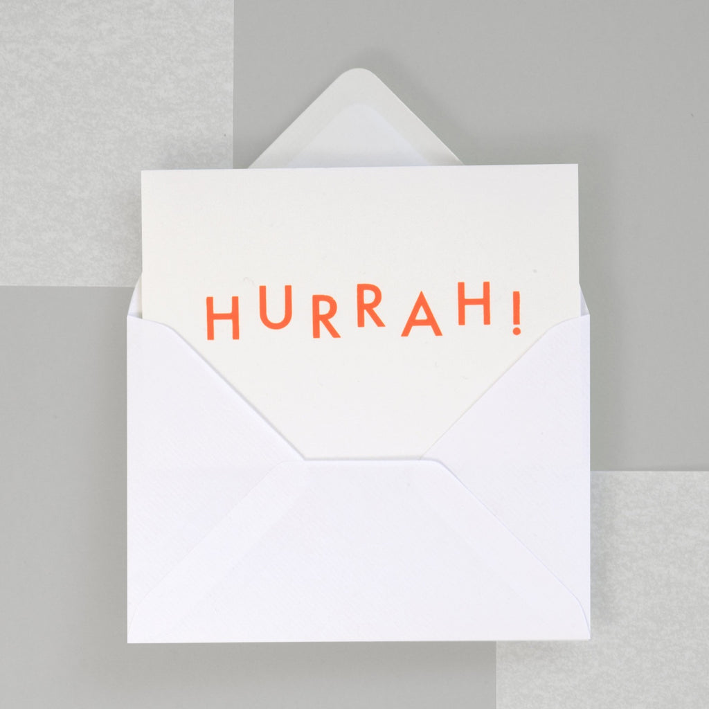 A6 Hurrah Card - Neon Orange/White