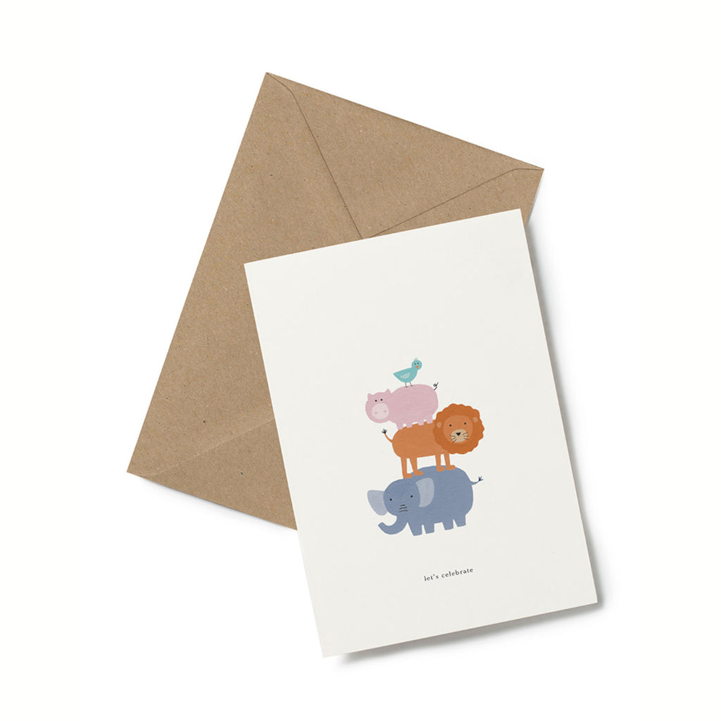 Lets Celebrate Animal Tower Birthday Card
