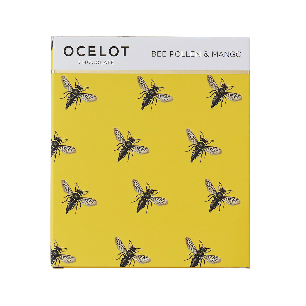 Ocelot Bee pollen and Mango dark chocolate bar - 75g fairtrade organic living wage