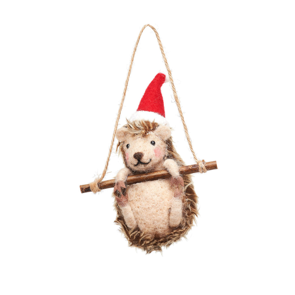 Hedgehog on Swing Felt Christmas bauble