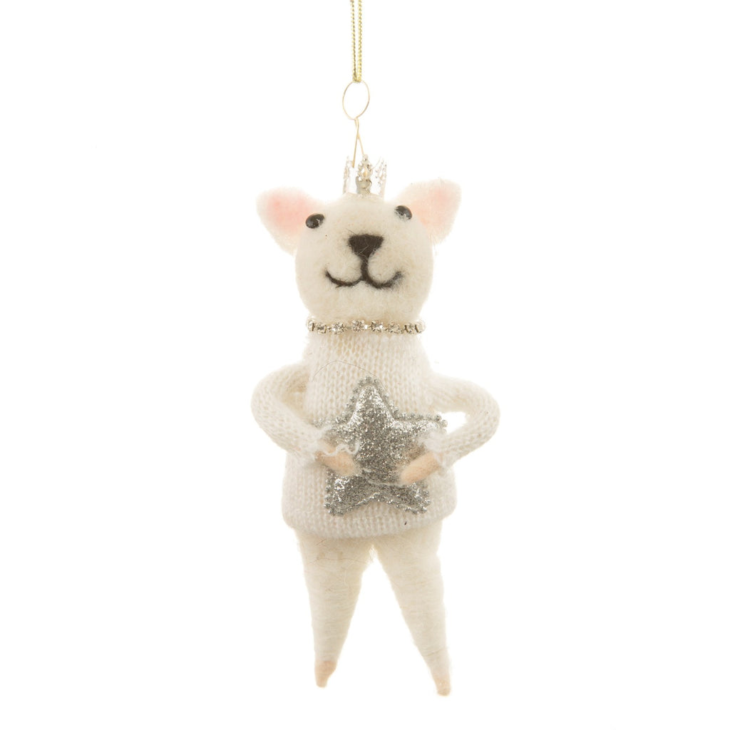 Wonderland Cat Felt Christmas bauble