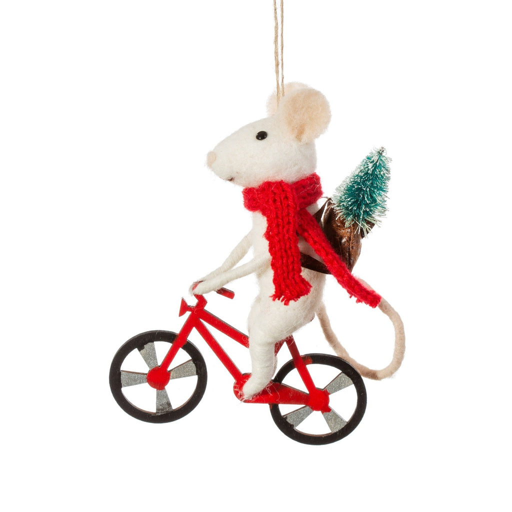 Bicycle Delivery Mouse Felt Christmas bauble
