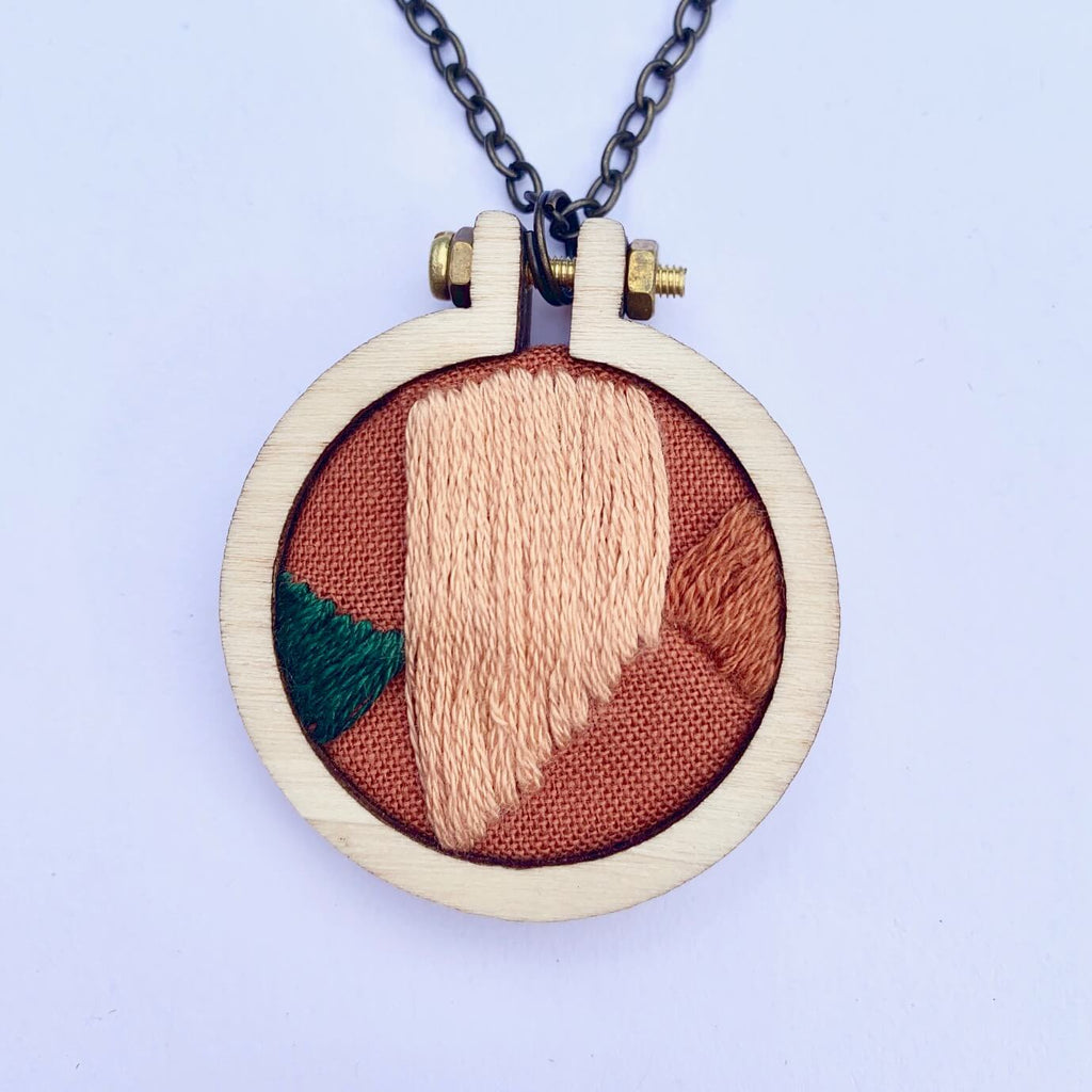 Stitch happy organic cotton hand embroidery hoop pendant necklace sustainable gift for women