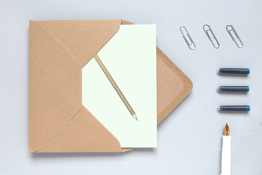 Ola design pencil minimalist simple greetings card biodegradable cellophane