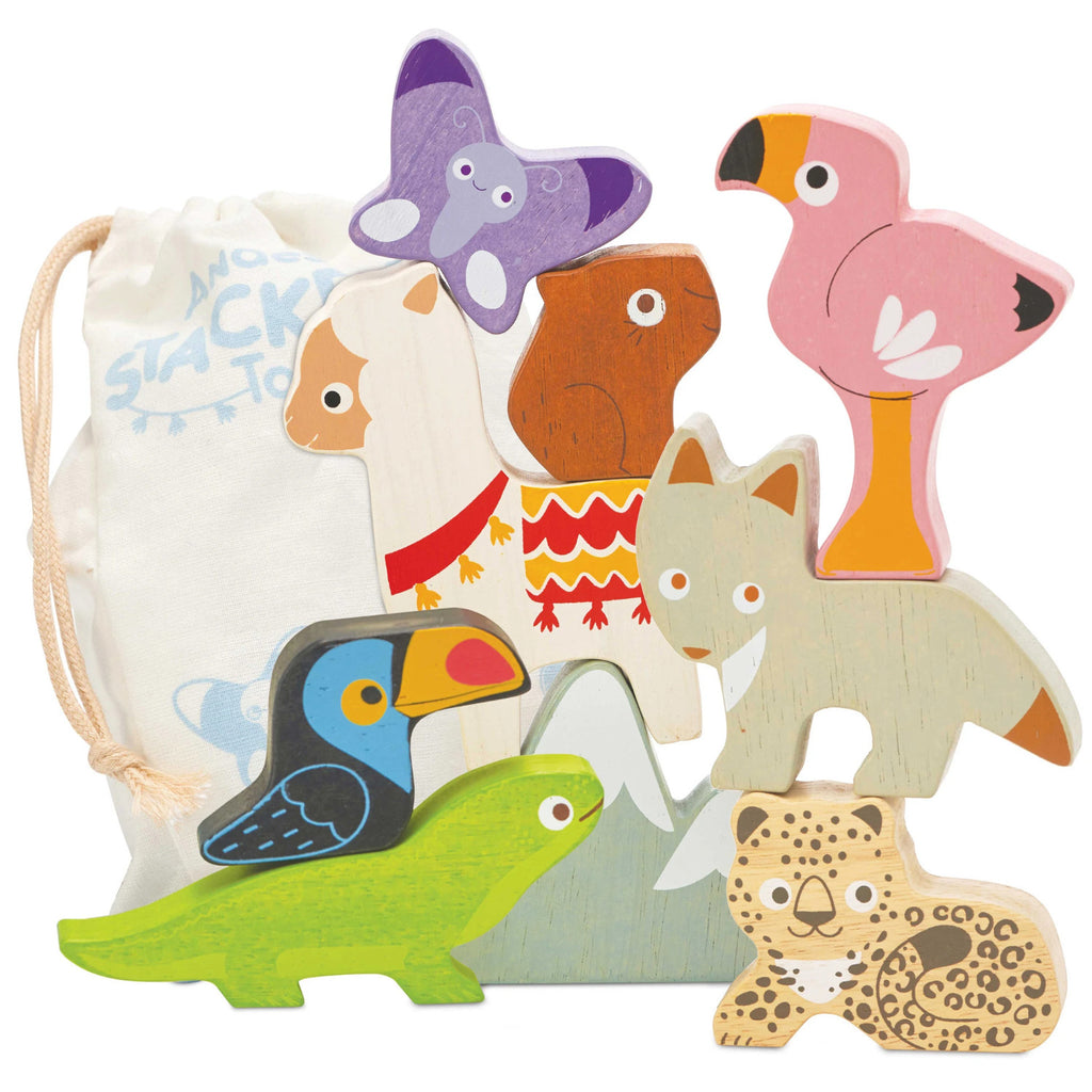 Le Toy Van Children's Andes Stacking Animals & Bag