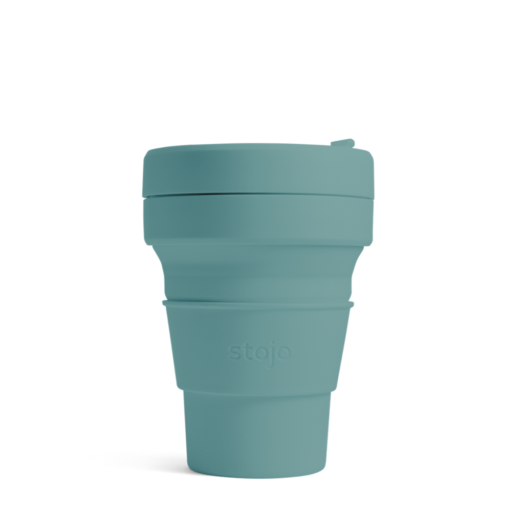 Stojo collapsible reusable cup eucalyptus