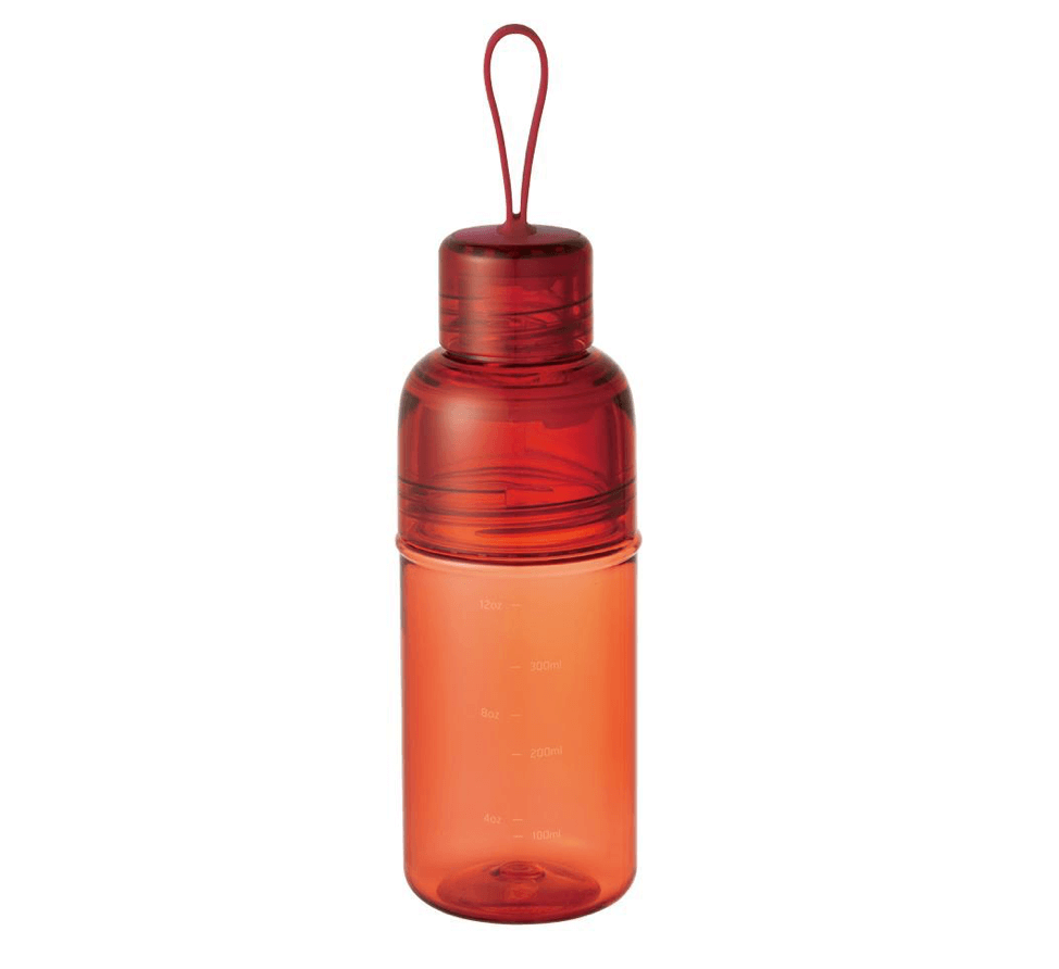 red workout bottle reusable with strap