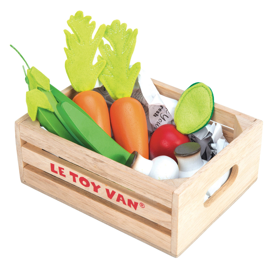 le toy van children's kids veggie vegetables crate toy play set sustainable eco