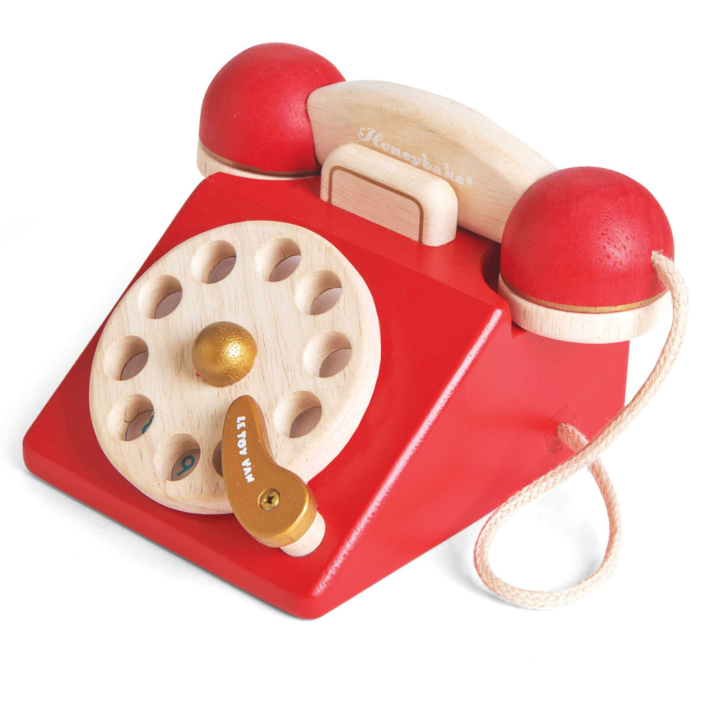 le toy van vintage style children's wooden kids telephone phone red sustainable toy