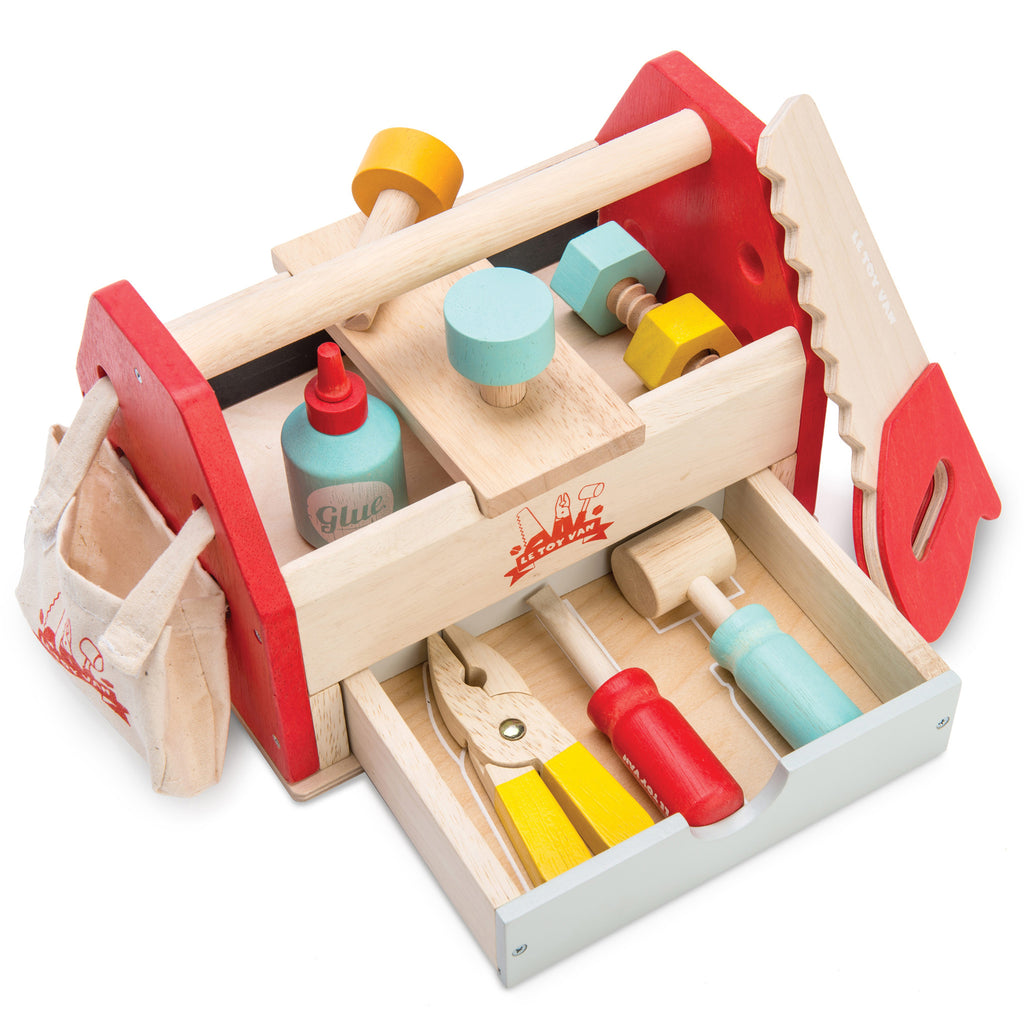 le toy van children's kids wooden tool set in box non plastic sustainable toy