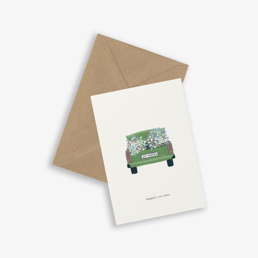 Happily Ever After Wedding Car Greetings Card