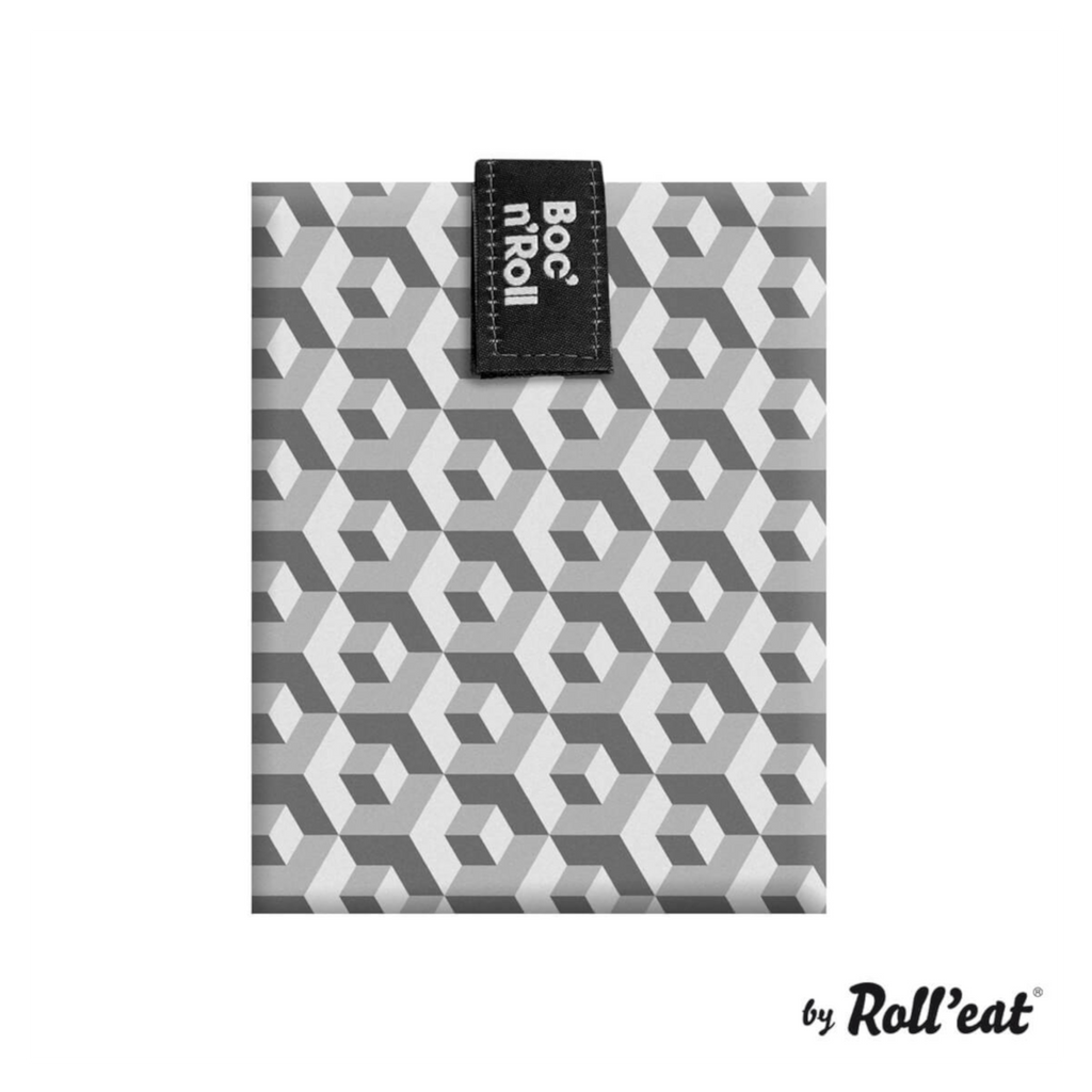 Boc'n'Roll reusable food wrap - black tiles sandwich sub beeswax alternative