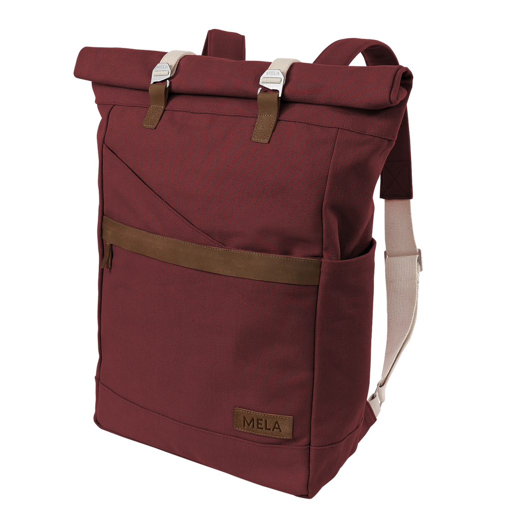 melawear answer GOTS certified organic cotton fairtrade folder roll top rucksack like fjällräven sustainable ethical eco bag  burgundy