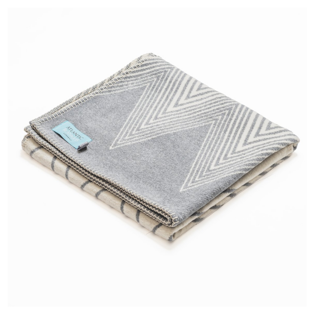 grey throw blanket recycled cotton chevron pattern