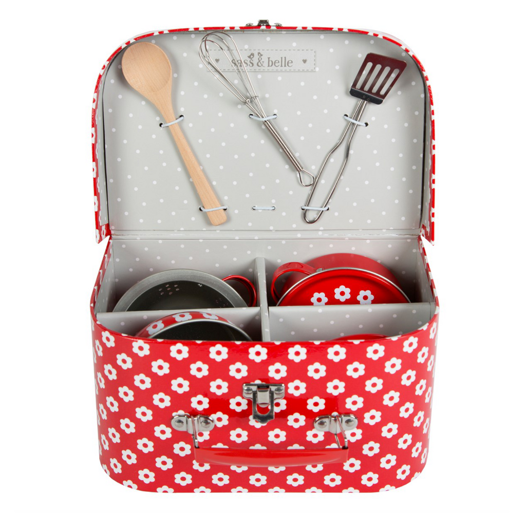 kids cooking set in red suitcase