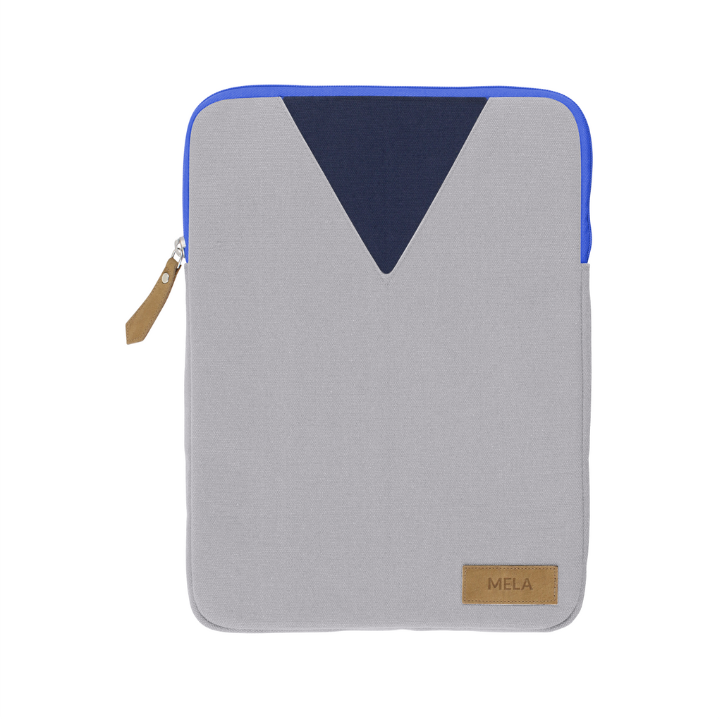 Melawear organic cotton fairtrade laptop bag case zip grey