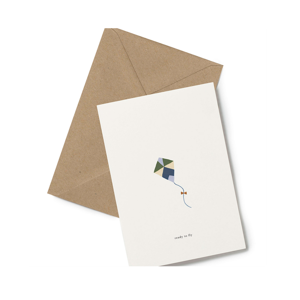 Ready to fly kite card congratulation graduation promotion card minimalist