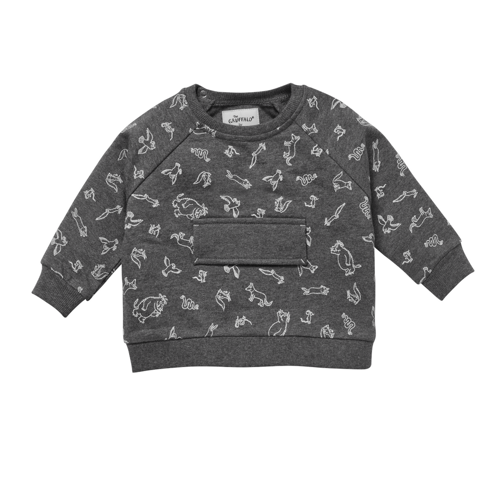 Mori organic baby clothes organic cotton jumper in grey Gruffalo pattern