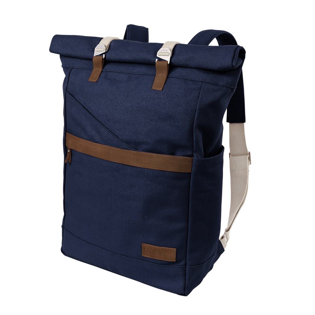 melawear ansvar navy rucksack rolltop bag organic cotton fairtrade ethical sustainable  eco design