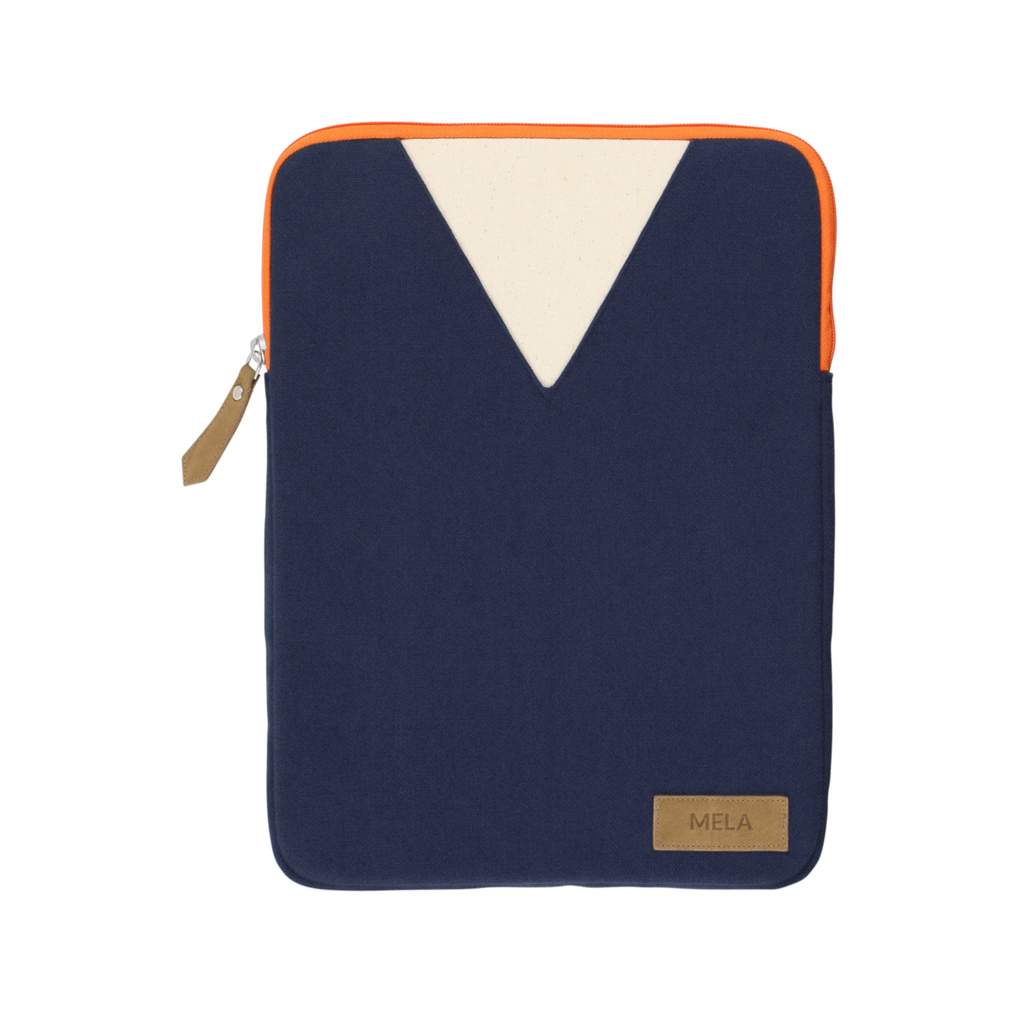 Melawear organic cotton fairtrade laptop bag case zip tablet navy