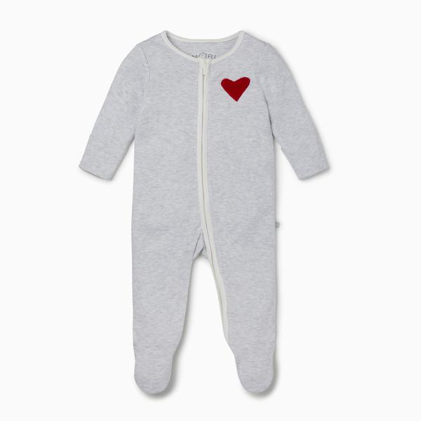 Mori Bamboo and Organic Cotton Heart Zip-up Sleepsuit