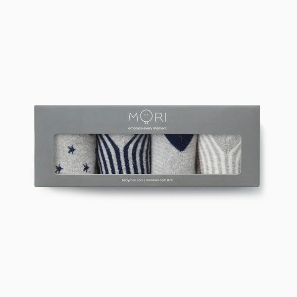 mori Organic cotton baby socks navy
