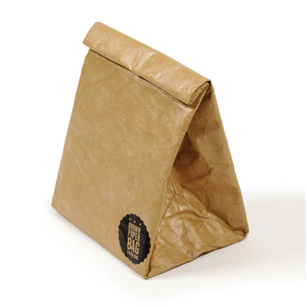 Roll up reusable brown paper lunch bag magnetic insulated