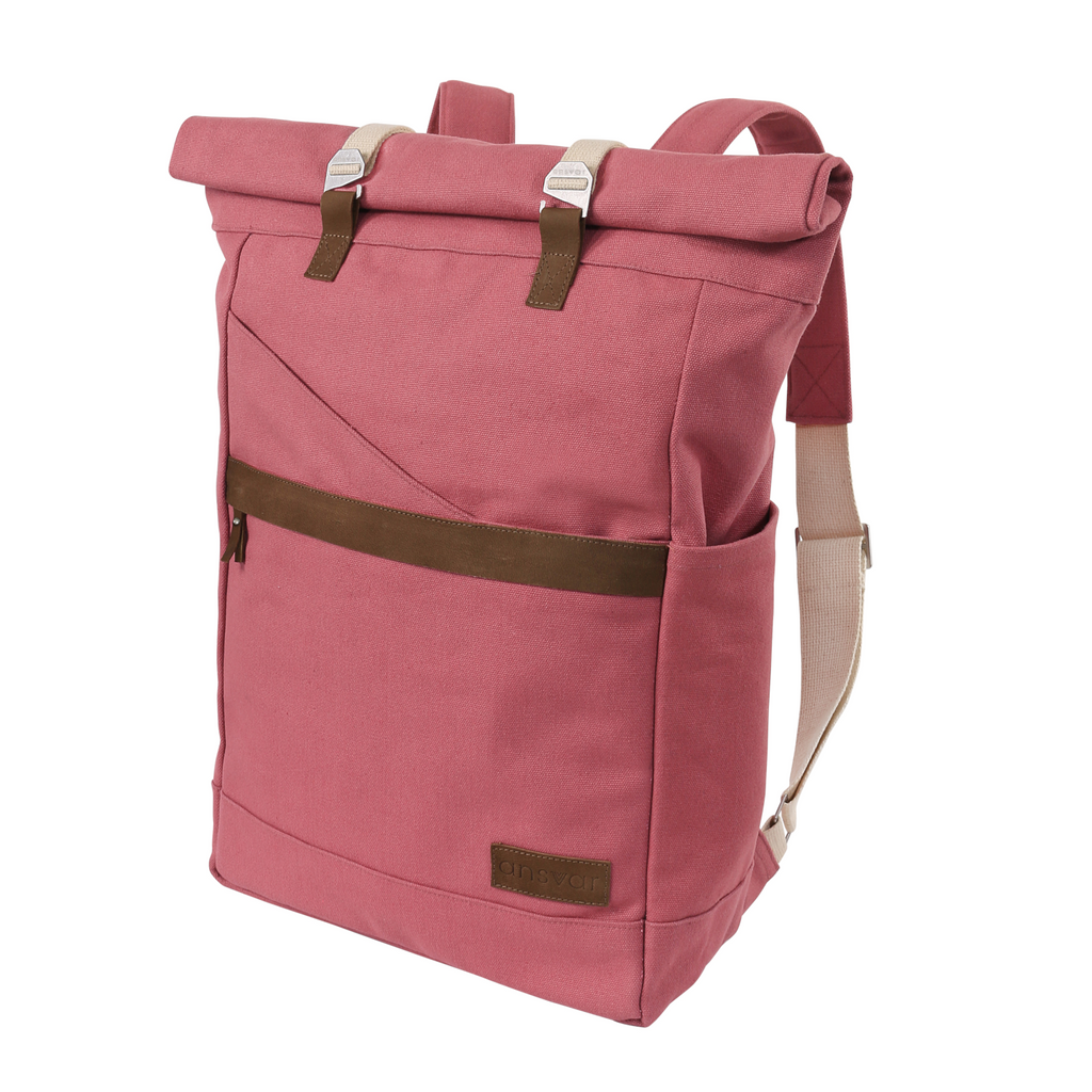 melawear ansvar vintage red pink rucksack rolltop bag organic cotton fairtrade ethical sustainable  eco design