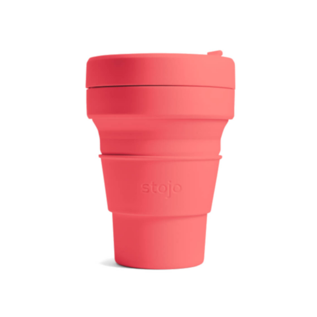 Stojo collapsible cup - 12oz - coral reusable travel mug