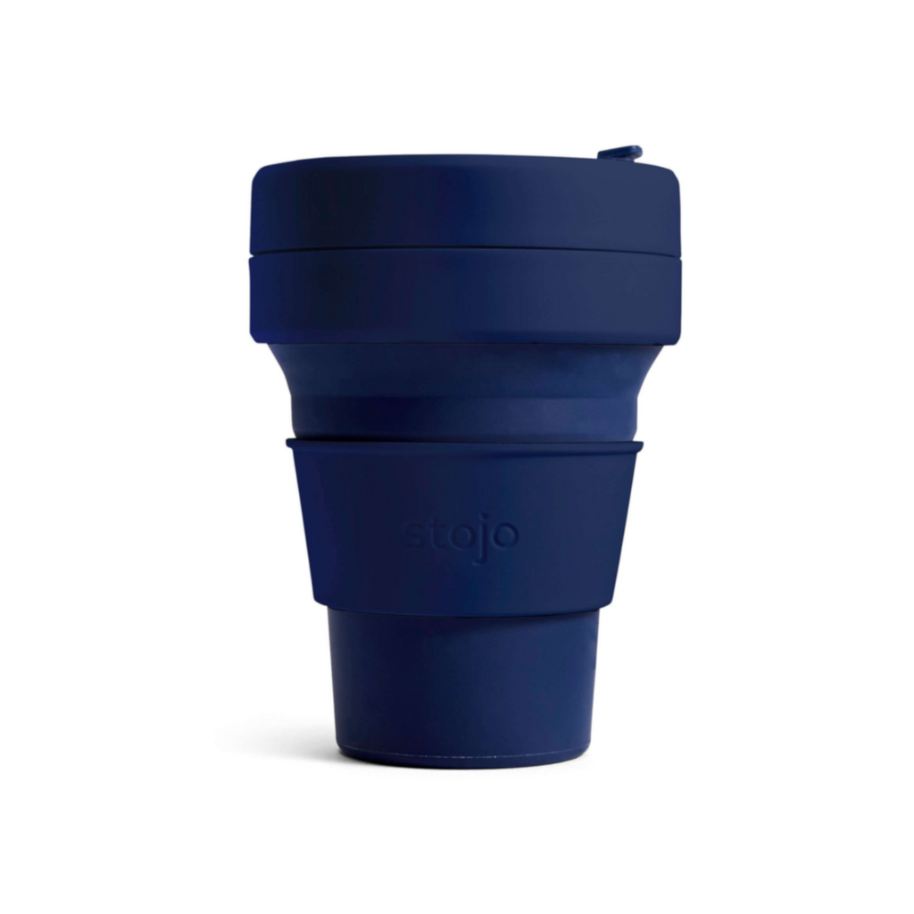 Stojo collapsible cup - 12oz - denim navy reusable travel mug