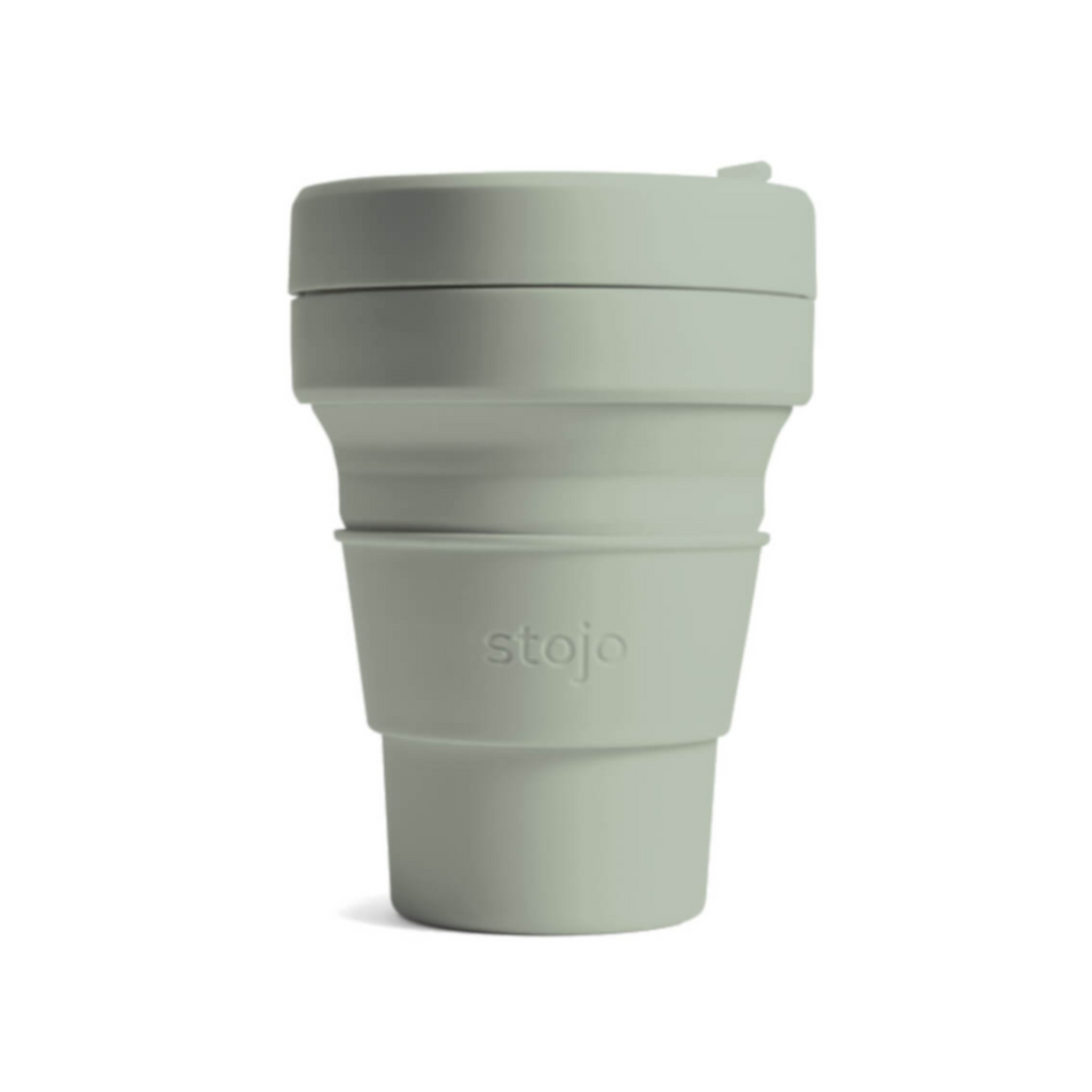 Stojo collapsible cup - 12oz - sage green reusable travel mug