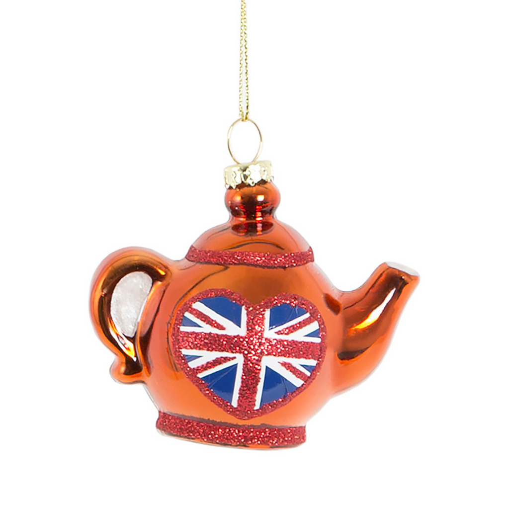 glass bauble teapot shaped with Union Jack flag