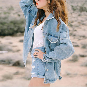 Loose Plain Denim Outwear
