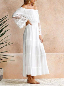 Collarless  Plain Lace Maxi Dresses