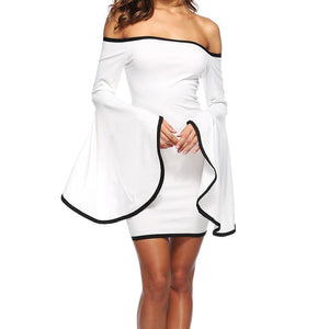 One-Neck Trumpet Sleeve Party Dress