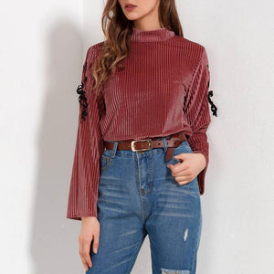 Gold Velvet Pure Color Round Collar Flare Long Sleeve Shirt