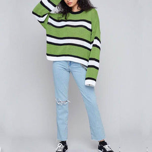 Green Stripes Round Collar Long Sleeve Sweater