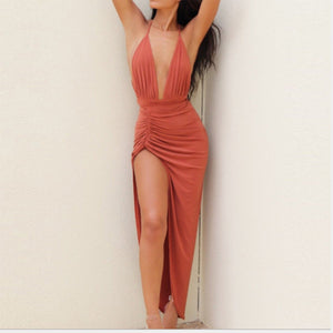 Sexy Deep V Collar Halter Split Hem Bodycon Dress