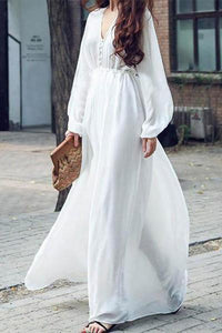 V Collar Pure Color Long Sleeve Maxi Vacation  Dress