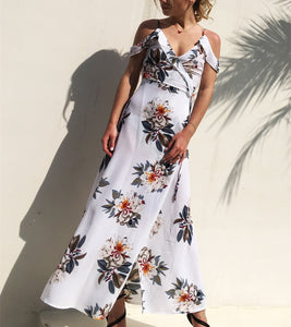 Sexy Shoulder Print, Irregular Slit Beach Holiday Dress.