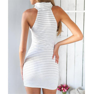 Sexy Slim Strip High Collar Sleeveless Halter Bodycon Dress