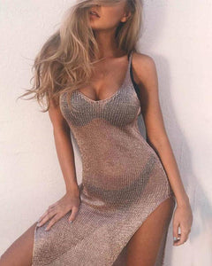Spaghetti Strap  High Slit See Through  Plain  Sleeveless Bodycon Sexy Dress