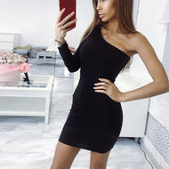 Sexy One Shoulder Slim Fit Bodycon Dress