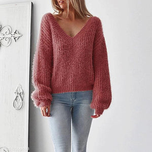 Sexy V Collar Backless Loose Winter Sweater