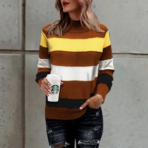 New Color-Stitching Loose Striped Half-Neck Sweater
